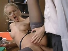 Glassed Anal Slut Dora Venter Receives Fucked and Facialized In The Office