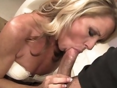 Admirable looking slender blond MILF Nikki Charm takes sturdy wang in her mouth. But after wang sucking she uses her tongue to give pleasure to her fuck buddy. That sweetheart licks his asshole and that dude likes it so much.