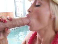 Busty hotot momma Diamond Foxxx stuffs her throat with massive dick