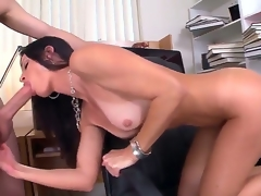 Seductive MILF India Summer munches on a giant boner before receiving it down her dripping moist bawdy cleft