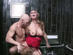 Gorgeous blonde MILF Tanya Tate likes having her delicious, shaved cunt smashed hard in a public bath