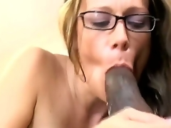 Sensational brunette playgirl enjoys giving oral pleasure and moans as her gaping slit is fucked
