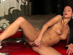 Euro-glamour brunette hair lady Melisa Mendiny with plump natural boobs takes off beautiful panties and stimulates her elegant wet aperture on the camera.