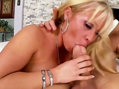 Arousing schlong loving blonde milf Austin Taylor with big jaw dropping round butt and whorish enormous make up seduces tattoos stud and rides on his schlong like there is no tomorrow.