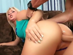 Experienced famous pornstar Johnny Sins with long rock hard pecker and muscled body fucks hard pretty pale blonde Kimmy Olsen in round bouncing ass all over the living room.