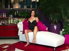 After getting out of her sexy lingerie and showing off her feet and tits, Danica Dillon gets personal with a pink vibrator for a sweet orgasm. Watch our new video at this site.