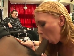 Naughty MILF Ami Emerson really craves to taste the large black cock of Tyler Knight  and the presence of her hubby is clearly not going to stop her. See her blow the guy!