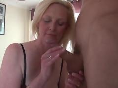 Beautiful large tits blonde mature sucks dick