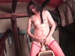 Sexy solo dildo ride with hairy hair milf