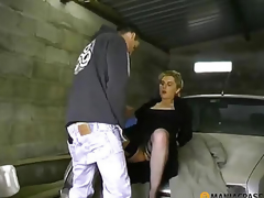 Fucks bitch in his garage