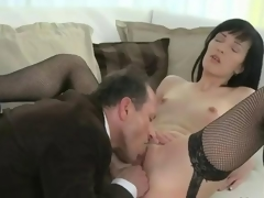 Mature in stockings fucking on couch