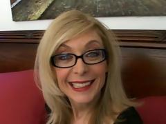 Sweety blonde granny in glasses Nina Hartley talking messy in the bedroom